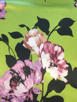Purple Placement Flowers on Lime Satin woven stretch base