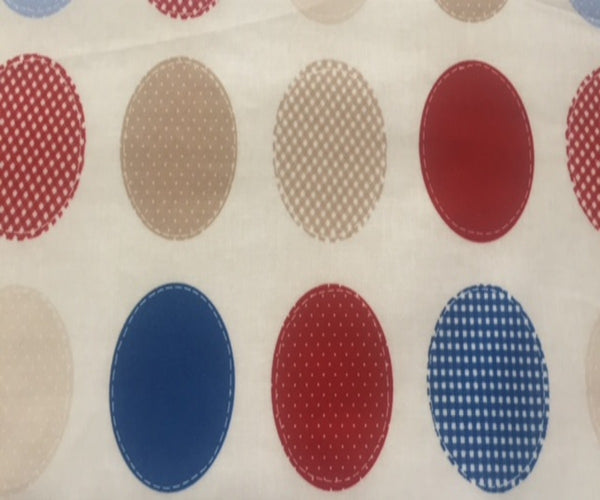 Blue/Red/Beige Spot PVC Coated Cotton