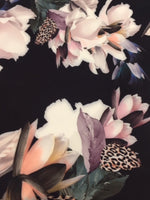Multi Flower on Black with Animal Skin Highlight on Woven stretch