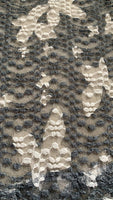 Slate Grey & Ivory Butterfly Stretch Lace - Deadstock fabric on AmoThreads