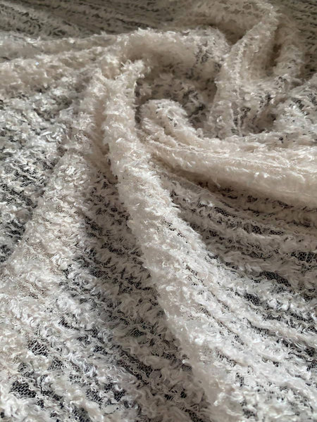 Ivory soft textured & Sequin with Lace border - Deadstock fabric on AmoThreads