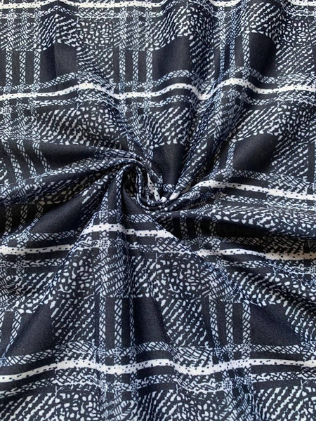 Blue check on knit - Deadstock fabric on AmoThreads