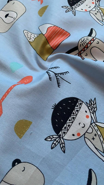 Indian print on pale Blue Cotton Sateen - Deadstock fabric on AmoThreads