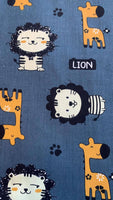 Lion and Giraffe on Teal Cotton Sateen - Deadstock fabric on AmoThreads