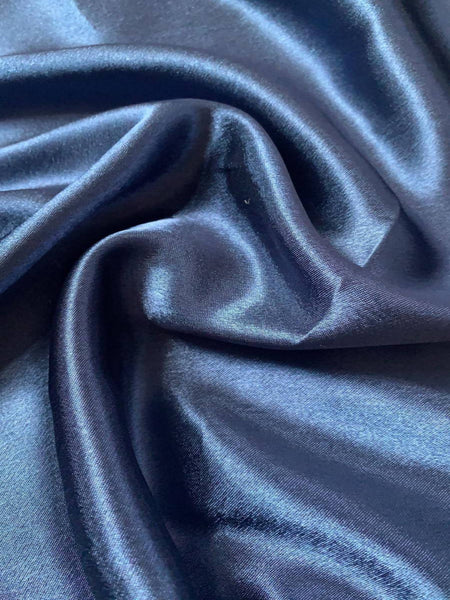 Navy Satin Backed Crepe - Deadstock fabric on AmoThreads
