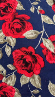 Red Rose on Navy Cotton lawn - Deadstock fabric on AmoThreads