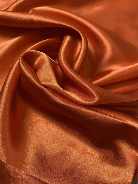 Orange Satin Backed Crepe - Deadstock fabric on AmoThreads
