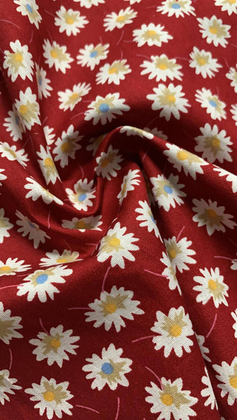 Blue/Yellow Daisies on Burgundy Cotton lawn - Deadstock fabric on AmoThreads