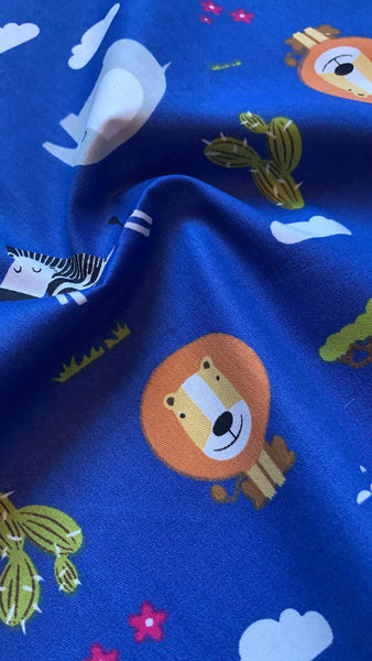 African Animal print on Royal Blue Cotton Sateen - Deadstock fabric on AmoThreads