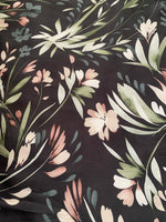 Dusty Pink Flower border print on Black - Deadstock fabric on AmoThreads