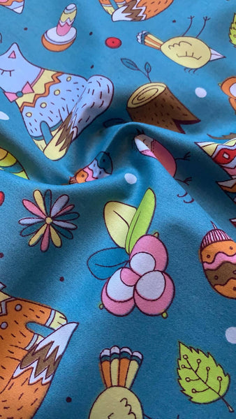 Fox and woodland print on pale Teal Cotton Sateen - Deadstock fabric on AmoThreads