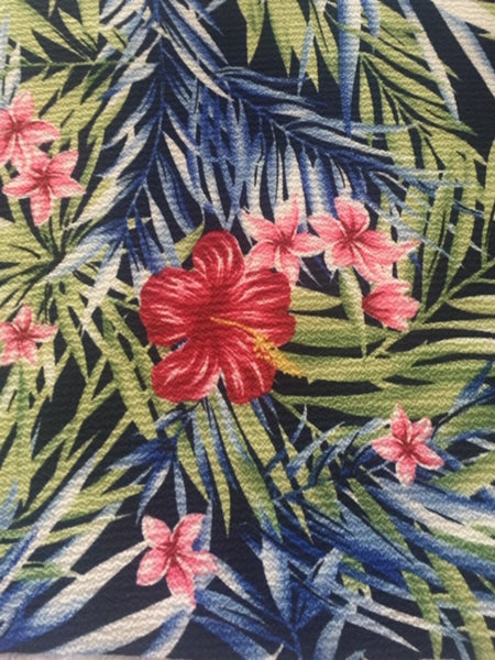 Red /Green /Blue Tropical Print on Bubble Crepe