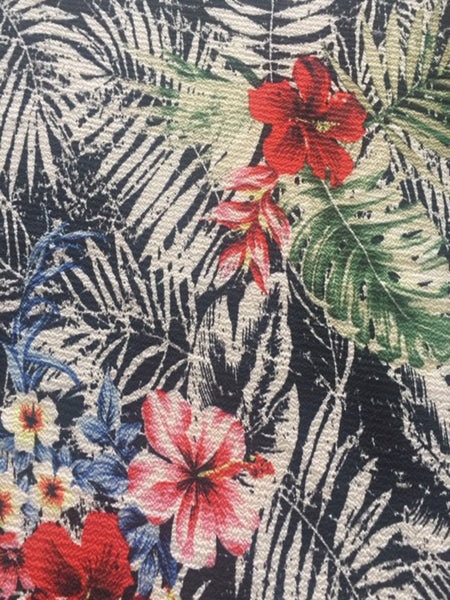 Tropical Flowers on Black Fern Print on Bubble Crepe