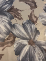 Silver Flower Print on Satin Woven Stretch Base