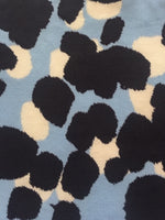 Navy & Ivory Splodge Graduated Print on Baby Blue Knitted Base