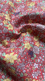 Yellow flowers on deep Coral Cotton lawn - Deadstock fabric on AmoThreads