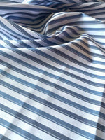 Mid Blue/Dark Blue double stripe yarn dyed woven shirting - Deadstock fabric on AmoThreads