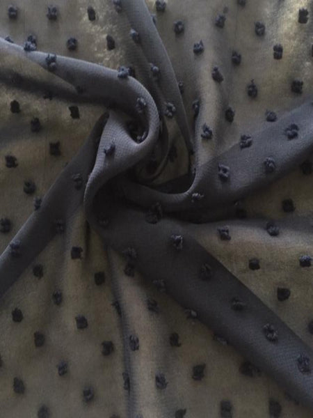 French Navy Tufted Spot on Chiffon