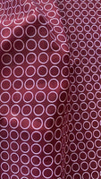 Ivory Circle on Maroon woven Chiffon - Deadstock fabric on AmoThreads