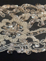 Ivory crystal and beaded embroidered trim 8cm wide - Deadstock fabric on AmoThreads
