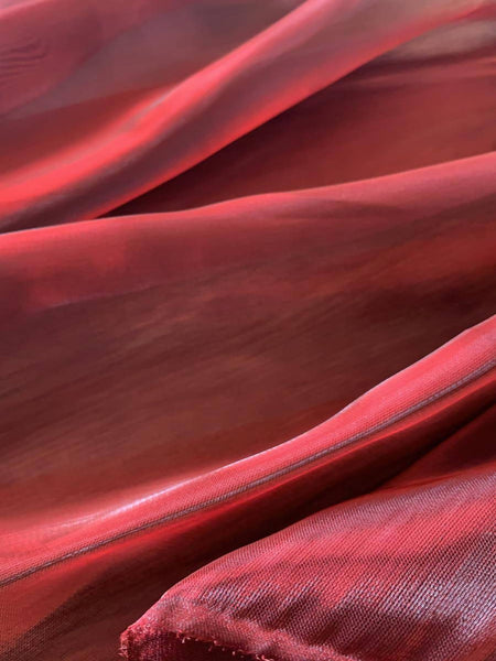 Claret iridescent Shimmer Organza - Deadstock fabric on AmoThreads
