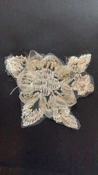 Champagne embroidery and beaded applique - 7cm wide (pair) - Deadstock fabric on AmoThreads