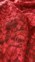 Cherry Red Stretch Lace - Deadstock fabric on AmoThreads