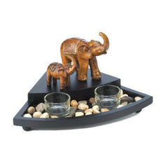 Candle Holder:Carved Elephant Family Set