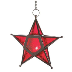 Candle:Lantern Red Glass Star