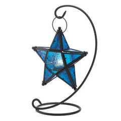 Candle:Lantern Stand Blue Glass Star