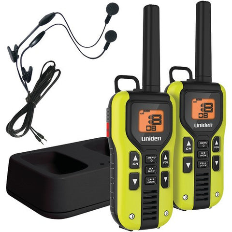 2Way Radio:Uniden 40-Mile 2-Way Frs And Gmrs Radios With Headset (Yellow; Li-Ion Batteries)