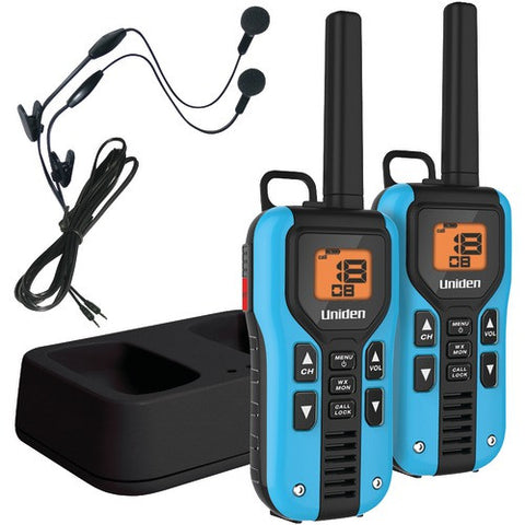 2Way Radio:Uniden 40-Mile 2-Way Frs And Gmrs Radios With Headsets (Blue; Nimh Batteries)