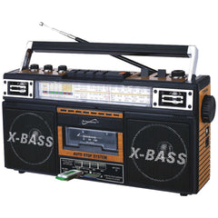 Boom Box:Retro 4-Band Radio & Cassette Player (Wood)Supersonic