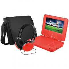 DVD Player:Portable DVD Player Bundles (Red) EMATIC EPD707RD 7""