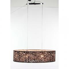 Ceiling Lamp:Benzara Mesh structure metal pendant with bulb