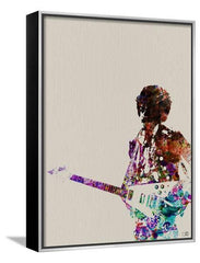 Canvas Print:Hendrix With Guitar Watercolor