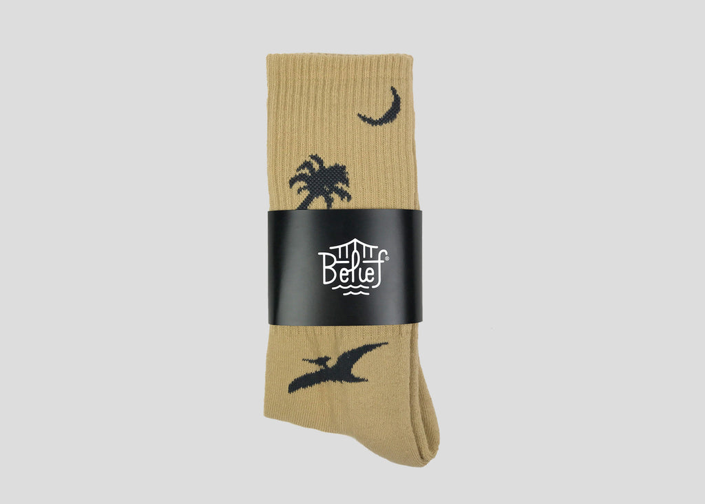 Prehistoric Sock - Cream