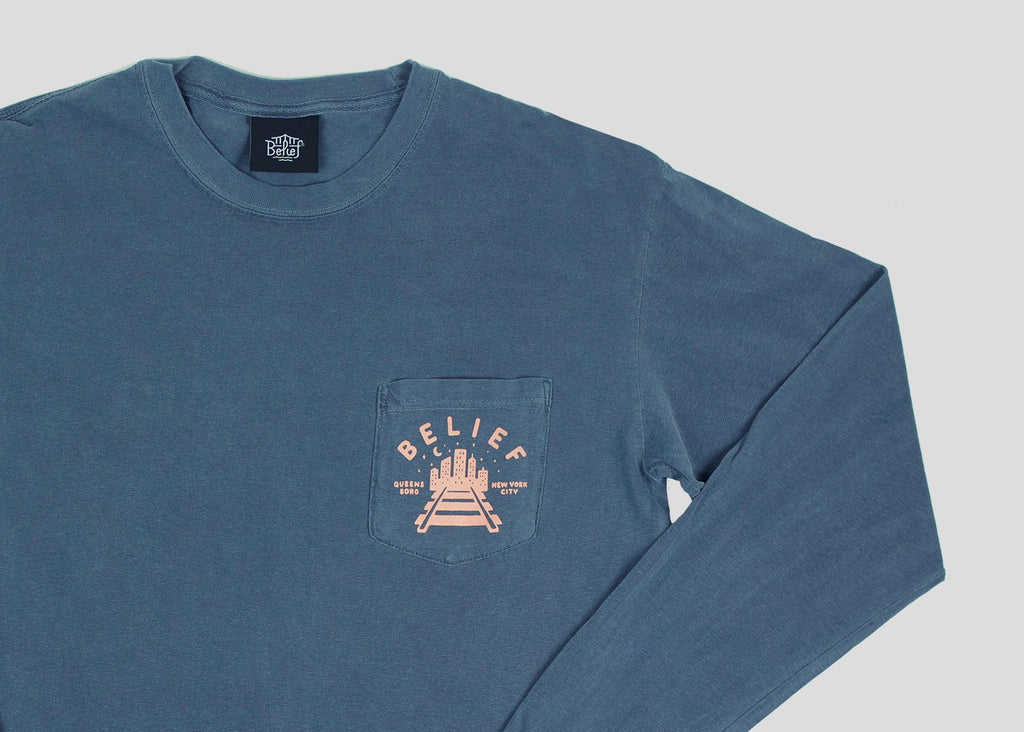 Queensboro L/S Pocket Tee - Denim