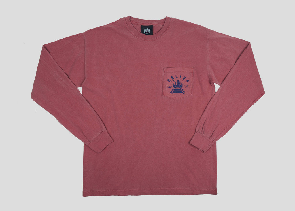 Queensboro L/S Pocket Tee - Brick