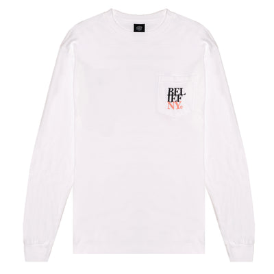 Stacked L/S Pocket Tee - White