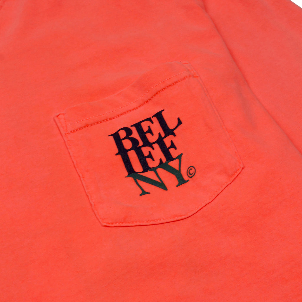 Stacked L/S Pocket Tee - Neon Red Orange