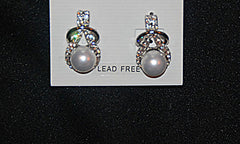 Pearl Center Crystal Tear Drop Earrings