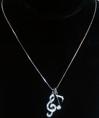 Crystal Treble Clef, Music Note Necklace