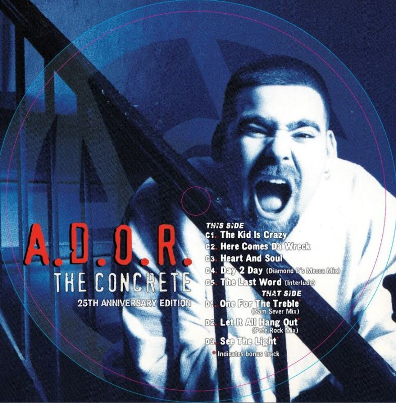 A.D.O.R. - THE CONCRETE (25TH ANNIVERSARY EDITION) [Blue/Red/White coloured Striped] [Vinyl Record / 2 x LP]-HIP-HOP ENTERPRISE-Dig Around Records