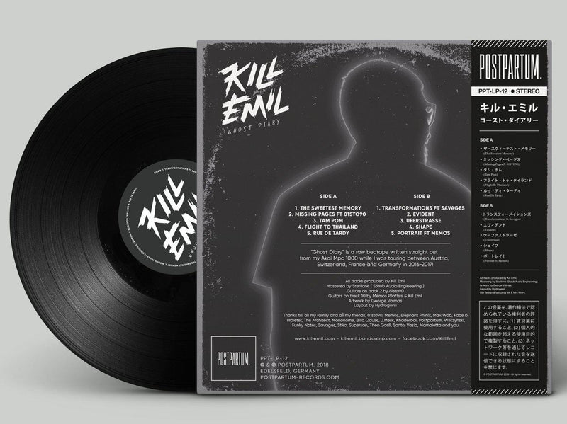 Kill Emil - Ghost Diary [Black] [Vinyl Record / LP + Download Code + Sticker]-POSTPARTUM. RECORDS-Dig Around Records