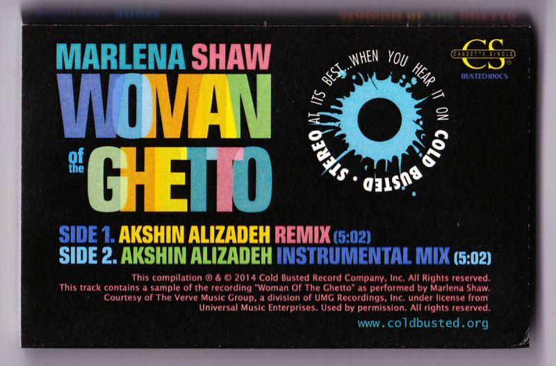 Marlena Shaw - Woman of the Ghetto (Akshin Alizadeh Mixes) [Cassette Tape]-Cold Busted Records-Dig Around Records
