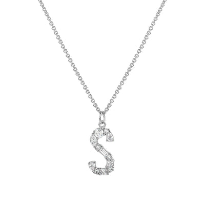 925 Silver Initial Cubic Necklace