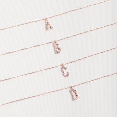 Rose Gold Initial Cubic Necklace