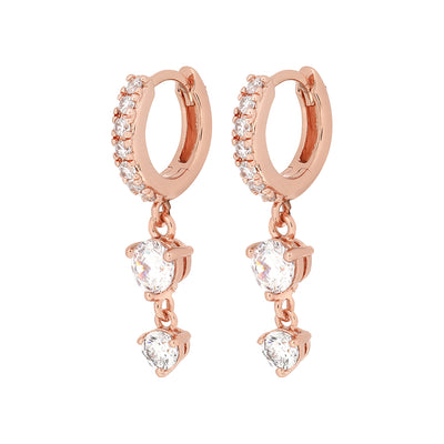 Rose Gold Clemence Cubic Huggies