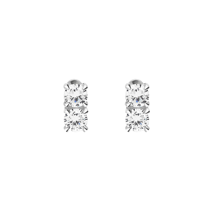 925 Silver Double Cubic Ear Studs